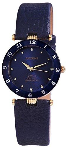 Akzent Damen analog Armbanduhr mit Quarzwerk SS7303000035 Metallgehaeuse mit Kunstleder Armband in Blau und Dornschliesse Ziffernblattfarbe Dunkelblau Bandgesamtlaenge 22 cm Armbandbreite 18 mm