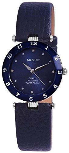 Akzent Damen analog Armbanduhr mit Quarzwerk SS7323000035 Metallgehaeuse mit Kunstleder Armband in Dunkelblau und Dornschliesse Ziffernblattfarbe Dunkelblau Bandgesamtlaenge 21 cm Armbandbreite 18 mm