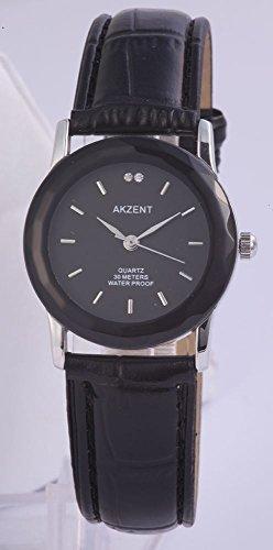 Armbanduhr Kunstlederarmband 21cm Dornschliesse Schwarz SS7321100012