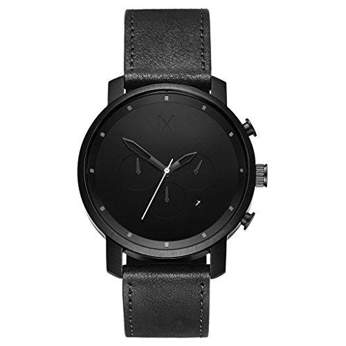 MVMT Herren Watch Uhr Chronograph Black Leder Armband MCC01BL