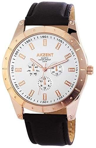 Akzent Herren-Armbanduhr XL Analog Quarz verschiedene Materialien SS7532500008