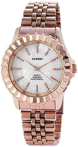 Akzent Damenuhr mit Edelstahlarmband Weiss Armbanduhr Uhr SS8142000007
