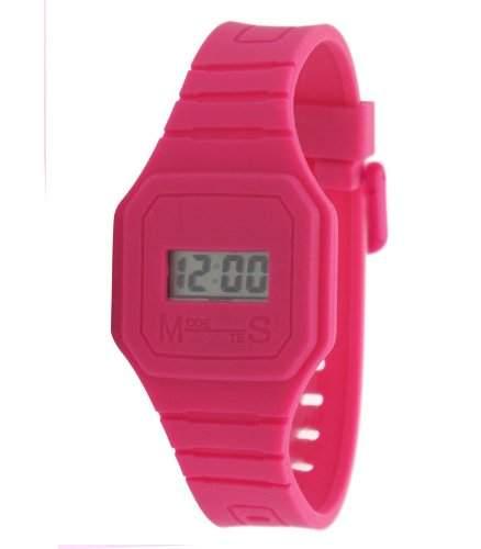 Fizz-5040822-Armbanduhr-Quarz Digital-Zifferblatt LCD-Armband Kunstharz rosa
