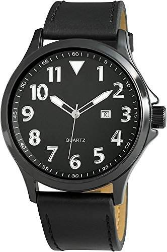 Raptor Analog Herrenuhr, Leder, Ø 47 mm, Schwarz - 297971000046