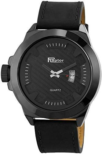 Raptor Analog Herrenuhr, Leder, Ø 50 mm, Schwarz Anthrazit - 297971200045