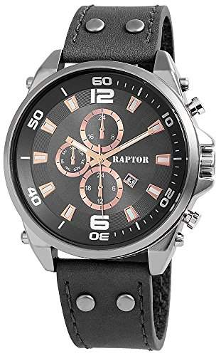 Raptor Analog Herrenuhr, Leder, Ø 50 mm, Anthrazit Grau - 297971500054