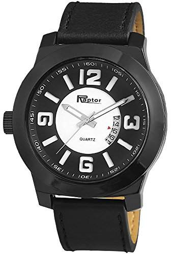 Raptor Analog Herrenuhr, Leder, Ø 50 mm, Schwarz - 297972000038