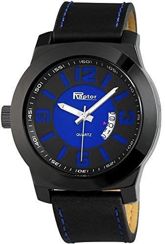 Raptor Analog Herrenuhr, Leder, Ø 50 mm, Schwarz - 297973000038