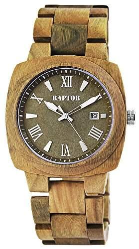 Raptor Herren Holz-Armbanduhr mit Quarzwerk und Mineralglas | Datumsanzeige | 1A Qualitaets Walnussholz | Holzuhr - 298197000009