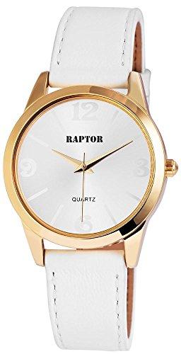 Raptor Analog Damen Armbanduhr mit Lederarmband in weiss 36 mm 197802500055