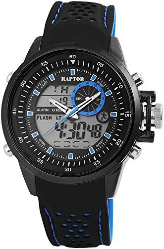 Raptor Analog Digital Herrenuhr Silikon 49 mm Schwarz 297971000082