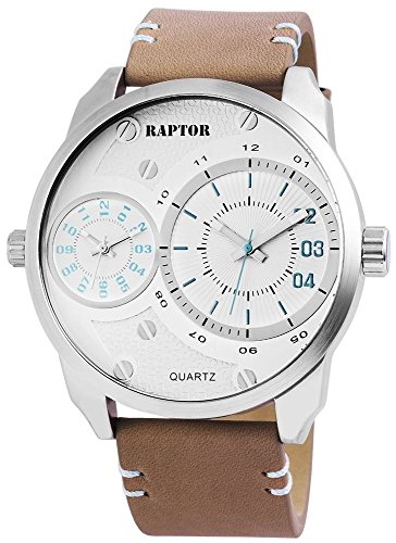 Raptor Analog Herrenuhr Echtleder 53 mm Beige 298522600003