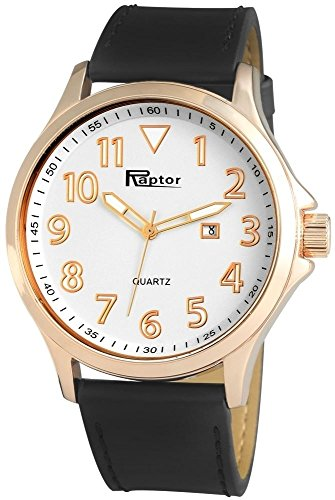 Raptor Analog Herrenuhr Leder 47 mm Rosegold Braun 297932500046