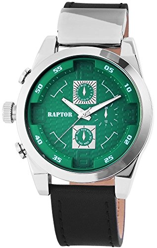 Raptor Analog Herrenuhr Leder 50 mm Schwarz 297926000072