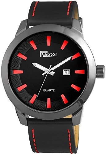 Raptor Analog Herrenuhr Leder 50 mm Schwarz 297975000041