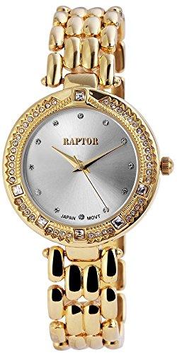 Raptor Damen Armbanduhr mit Quarzwerk Goldfarbene Uhr mit Strass Silberfarbenes Zifferblatt 35 mm 197602500036 Farbe4