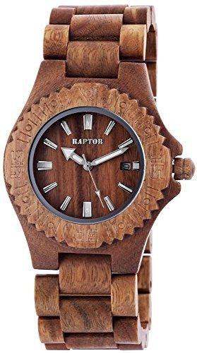 Raptor Unisexuhr Holz Armbanduhr mit braunem Holzarmband aus Verawood besondere Wood Collection 42 mm Datumsanzeige 298196000012