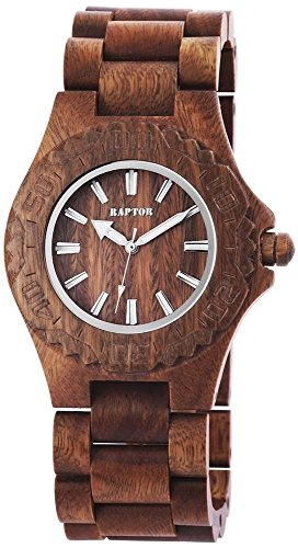 Raptor Unisex Holz Armbanduhr mit braunem Holzarmband aus Verawood Herrenuhr Unisexuhr Damenuhr Wood Collection 42 mm 298196000005