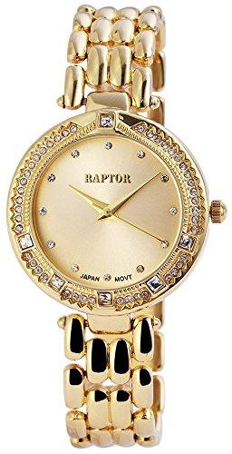 Raptor Damen Armbanduhr mit Quarzwerk Goldfarbene Uhr mit Strass 35 mm 197607500036 Farbe3