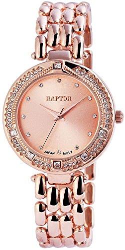 Raptor Damen Armbanduhr mit Quarzwerk Rosegoldfarbene Uhr mit Strass 35 mm 197635500036 Farbe1