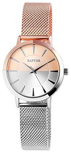 Raptor Edelstahl Analog Damen Armbanduhr in rosegold silberfarben mit Meshband 197622500034 Farbe2