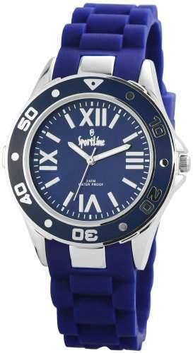 Sportline Damen Analog Armbanduhr mit Quarzwerk 220523500006 und Metallgehaeuse mit Silikonarmband in Blau und Dornschliesse Ziffernblattfarbe blau Bandgesamtlaenge 23 cm Armbandbreite 20 mm