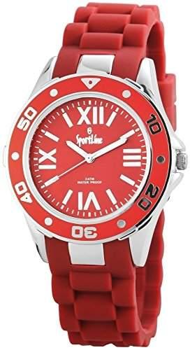 Sportline Damen Analog Armbanduhr mit Quarzwerk 220525000006 und Metallgehaeuse mit Silikonarmband in Rot und Dornschliesse Ziffernblattfarbe rot Bandgesamtlaenge 23 cm Armbandbreite 20 mm
