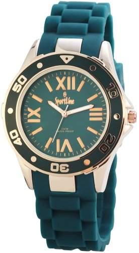 Sportline Damen Analog Armbanduhr mit Quarzwerk 220541000006 und Metallgehaeuse mit Silikonarmband in Tuerkis und Dornschliesse Ziffernblattfarbe Tuerkis Bandgesamtlaenge 23 cm Armbandbreite 20 mm