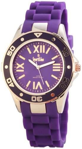 Sportline Damen Analog Armbanduhr mit Quarzwerk 220542000006 und Metallgehaeuse mit Silikonarmband in Lila und Dornschliesse Ziffernblattfarbe Lila Bandgesamtlaenge 23 cm Armbandbreite 20 mm