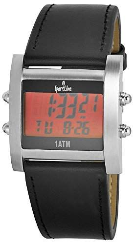 Sportline Herrenuhr Armbanduhr mit Lederimitationarmband Rot 309525029001