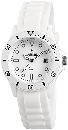 Sportline Damen Herren Unisex Armbanduhr Silikon Datum Weiss Wasserdicht