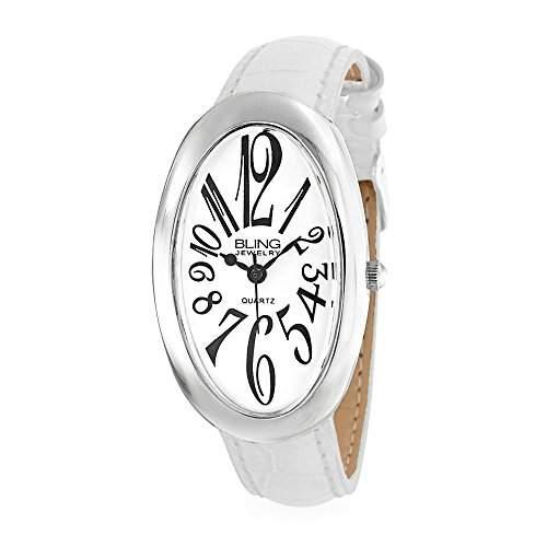 Bling Jewelry Oval Weiss Dial Damen Weiss Leder Uhr
