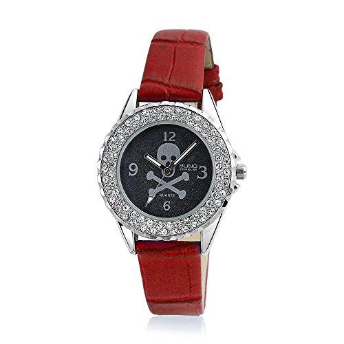 Bling Jewelry Skull Crossbones und Crystal runde rote Uhr Edelstahl zurueck