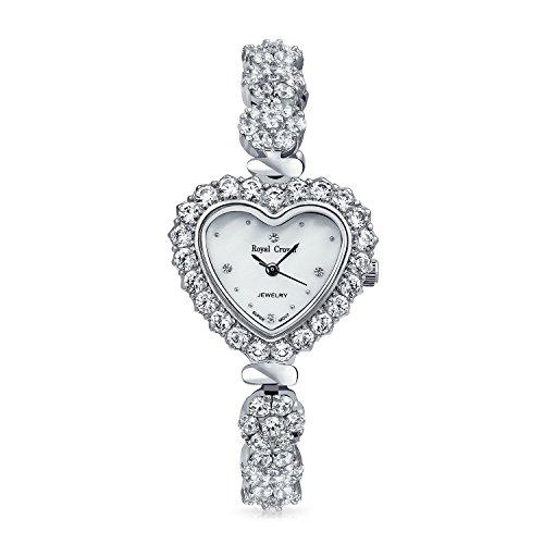 Bling Jewelry Rhodiniert Herz Form CZ Edelstahl Armbanduhr zurueck