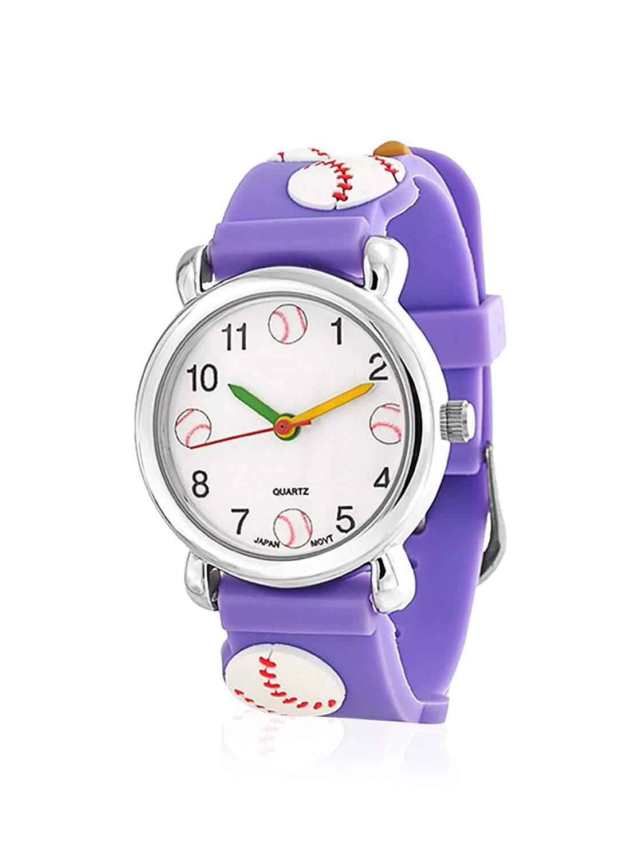 Bling Jewelry Lila Analog Baseball Sport Kinder Armbanduhr mit Edelstahl Hinter