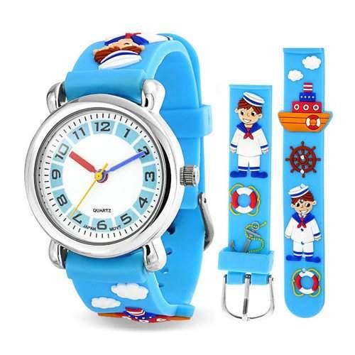 Bling Jewelry Blau Sailor Tugboat Nautische Schiff Kinder Armbanduhr mit Edelstahl Hinter