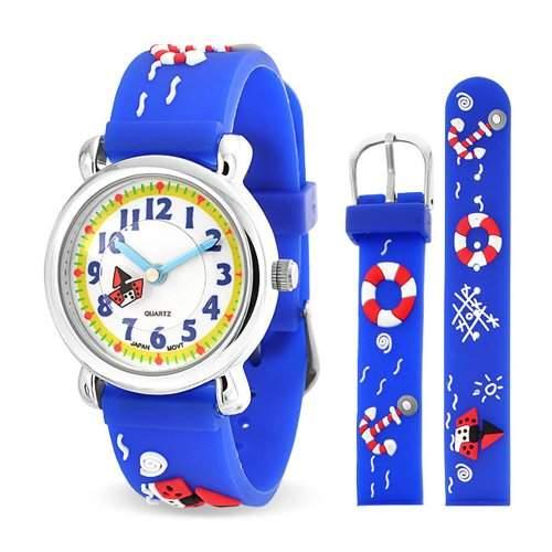 Bling Jewelry Jungen Blau Nautisch Mode Anker Kinder Armbanduhr mit Edelstahl Hinter