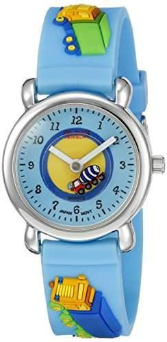 Bling Jewelry Blaue Jungs Lkw Analog Kinder Armbanduhr mit Edelstahl Hinter Foto waehlen