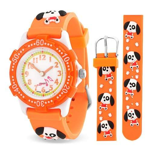 Bling Jewelry Orange Pfotenabdruecke Huendcen Tier Kinder Armbanduhr mit Edelstahl Hinter