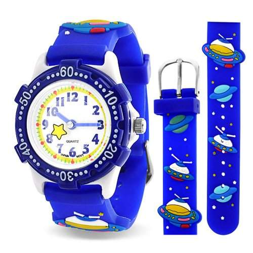 Bling Jewelry Blaue Raumschiff Galaxis Kinder Armbanduhr mit Edelstahl Hinter Analog