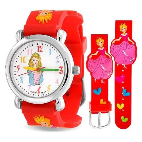 Bling Jewelry Maedchen Rot Prinzess Cinderella Herzen Armbanduhr mit Edelstahl Hinter