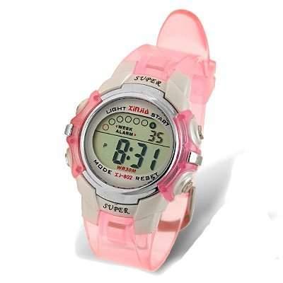 sourcingmap® Kinder Pink Ehering Wasserdicht Sport Digitaluhr