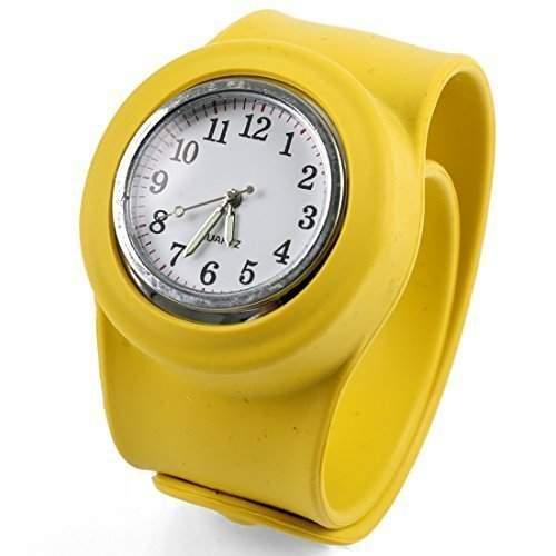 sourcingmap® Modischer Gelbe Farbe Runde Zifferblatt Fluoreszierend Minute Hand-gestaltung Uhr fuer Kinder