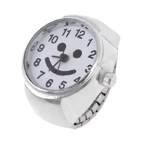 Metall Gummiband Arabische Zahl Waehlen Fingerring Uhr UK J 12