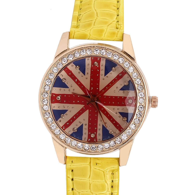 sourcingmap® Dame Kunstleder Band UK Flagge Muster Beilaeufige Analoge Quarz Armbanduhr de