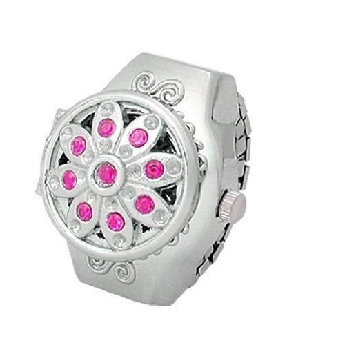 sourcingmap Arabisch Anzahl Amaranth rosa Strass Legierung Ring Uhr de