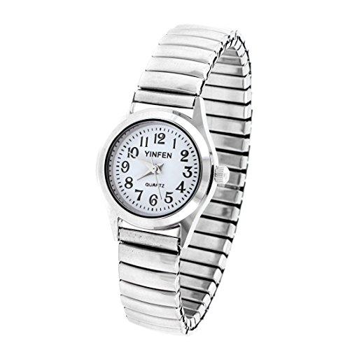 sourcingmap Damen Elastisch Band Weiss rund Dial Wrist Quartz Uhr DE