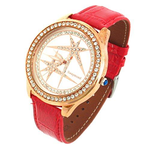 sourcingmap Damen Uhr Energetische Stern Rot Kunstleder Armbanduhr de
