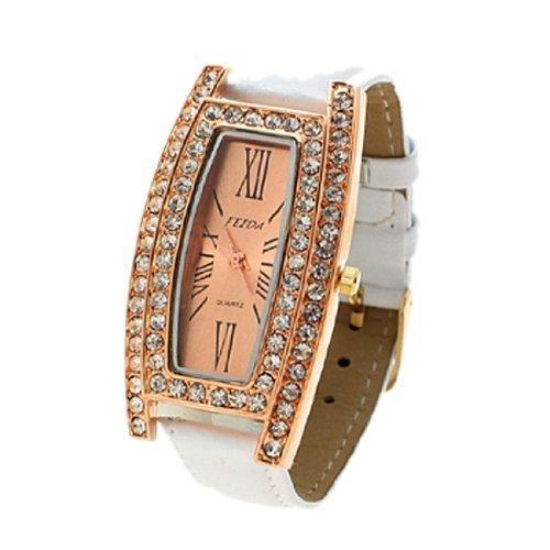 sourcingmap Gold tone Paris Elegant White Faux Goldton Paris Elegante weisse Quarz Armbanduh