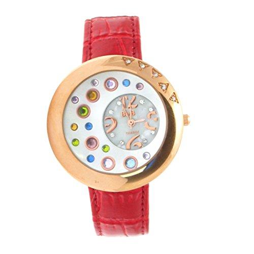 sourcingmap Goldton Uhr Mutilfarbe Kristall Quarz Armbanduhr de